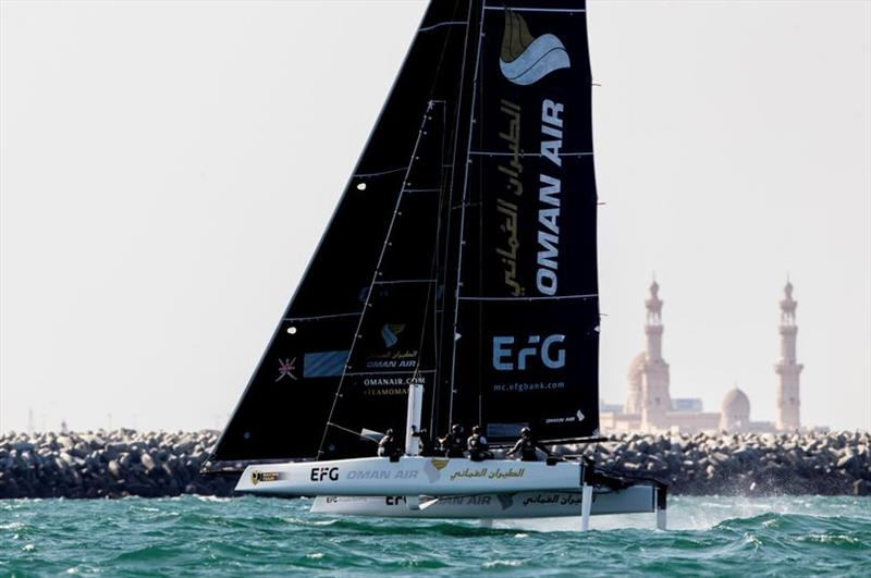 Adam Minoprio and his crew have their work cut out if they are to challenge Alinghi tomorrow - GC32 Oman Cup day 3 - photo © Sailing Energy / GC32 Racing Tour