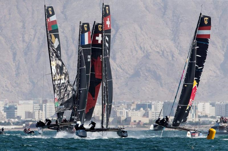 Alinghi leads at the all-important first reaching mark - GC32 Oman Cup day 3 - photo © Sailing Energy / GC32 Racing Tour