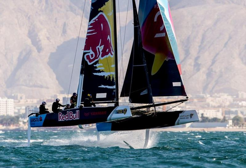 Red Bull Sailing Team was nicely lined up to win today's second race until they were luffed into second by Alinghi. - GC32 Oman Cup day 3 - photo © Sailing Energy / GC32 Racing Tour