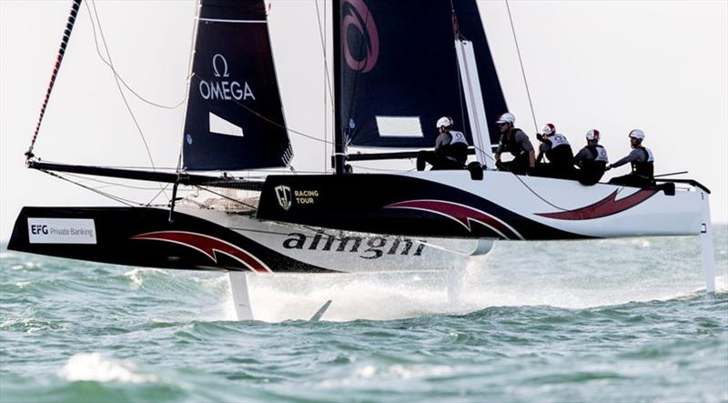 Alinghi is looking in good shape to win the 2019 GC32 Racing Tour tomorrow. - GC32 Oman Cup day 3 - photo © Sailing Energy / GC32 Racing Tour