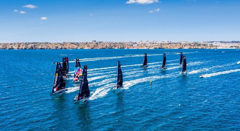 Full fleet action at the 2019 GC32 World Championship in Lagos, Portugal. © Sailing Energy / GC32 Racing