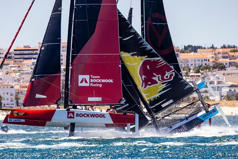 Red Bull nosedives as Rockwool flies past - 2021 GC32 Lagos Cup 1 - photo © Sailing Energy / GC32 Racing Tour