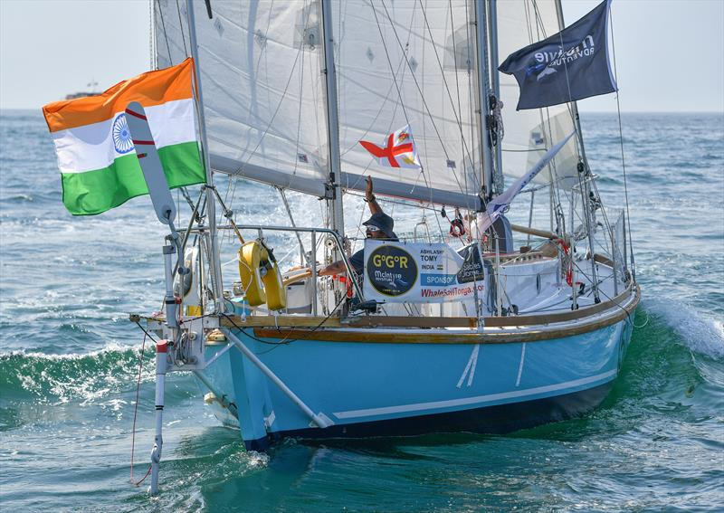 Abhilash Tomy sailing Thuriya, a wooden replica of Sir Robin' Knox-Johnston's yacht Suhaili, at the start of the 2018 Golden Globe Race - photo © Christophe Favreau