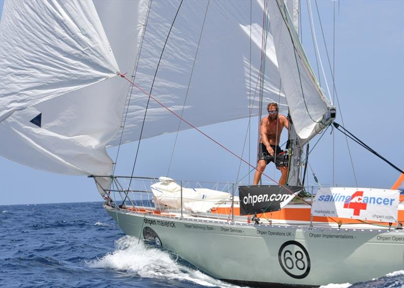 Mark Slats (NED) sailing the Rustler 36 Ohpen Maverick is relishing the sleigh ride conditions in the trade winds and keeping the pressure on race leader Philippe Péché - photo © Christophe Favreau / PPL / GGR