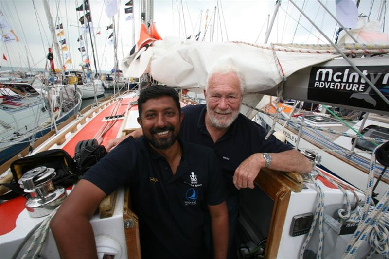 India's Abhilash Tomy with his mentor Sir Robin Knox-Johnston aboard Thuriya - a 1923 design like Suhaili, proving itself one more in the Southern Ocean - photo © Bill Rowntree / PPL / GGR