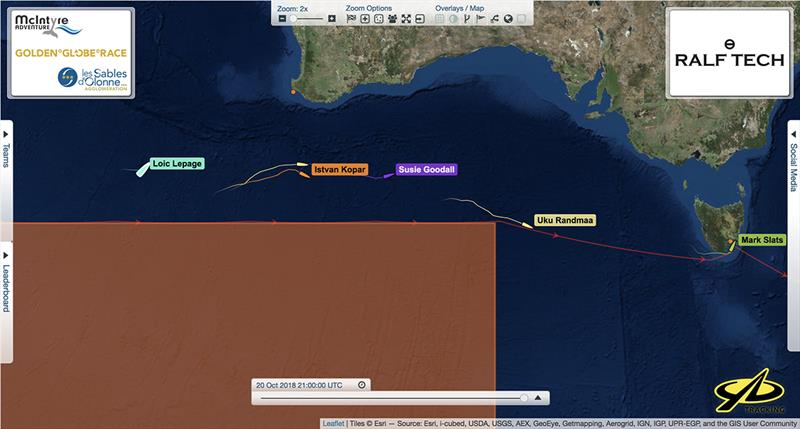 Loïc Lepage's position 600 miles SW of Perth Western Australia at 21:00 UTC relative to other yachts competing in the Golden Globe Race - photo © Golden Globe Race