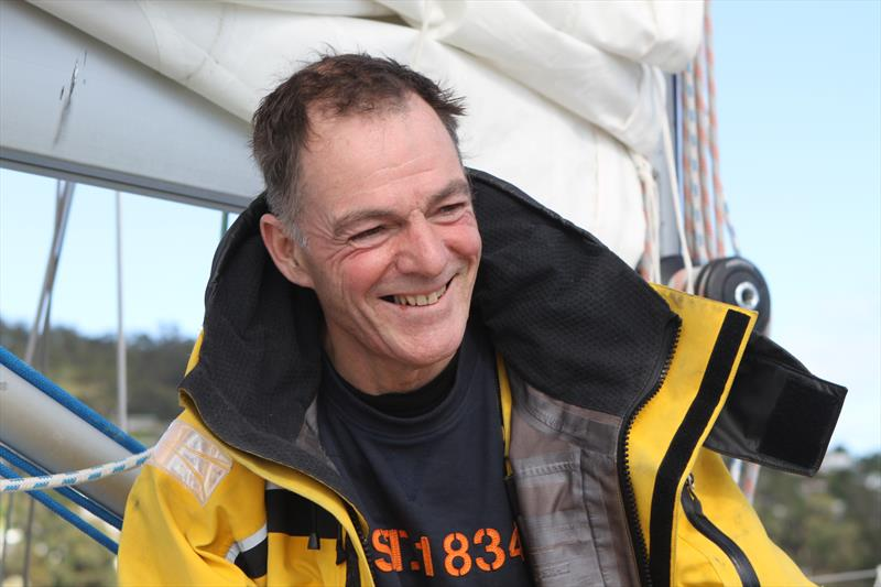 Tapio Lehtinen still smiling after 54 hours without sleep in the Golden Globe Race - photo © Jessie Martin / PPL / GGR