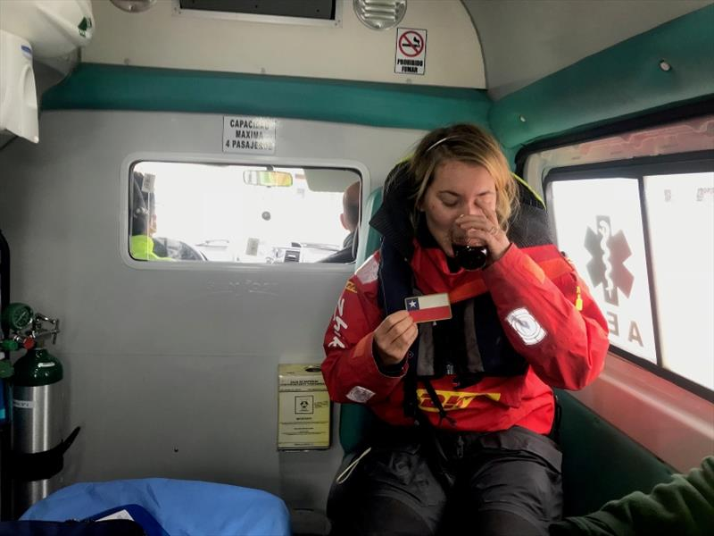 Susie Goodall enjoying a hot drink in the ambulance that carried her to hospital for a checkup after her arrival in Punta Arenas on 16th Dec. - photo © Javier Contreras / PPL / GGR