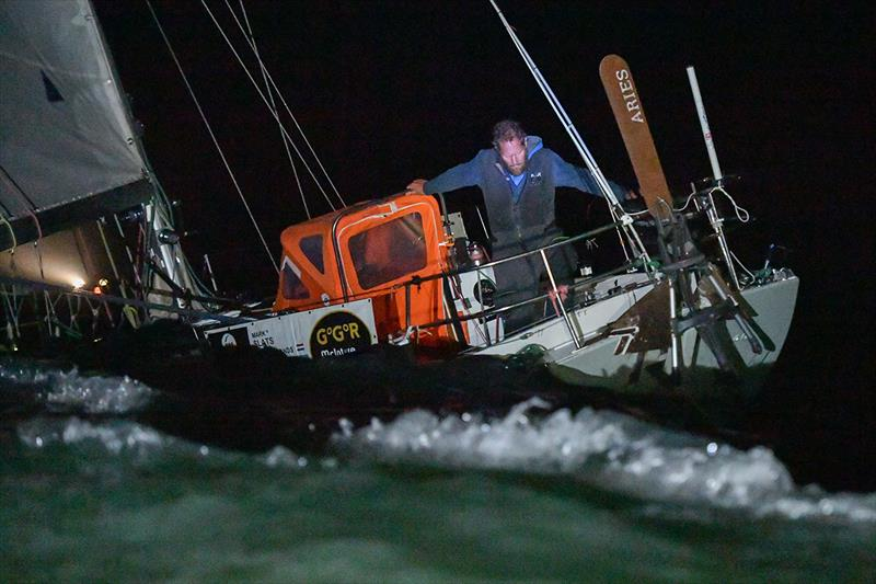Mark Slats arriving off Les Sables d'Olonne to take second place in the 2018 Golden Globe Race last night - photo © Christophe Favreau / PPL / GGR