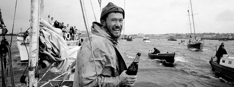 Sir Robin crossing the finish line in Golden Globe Race - photo © Bill Rowntree / PPL Media