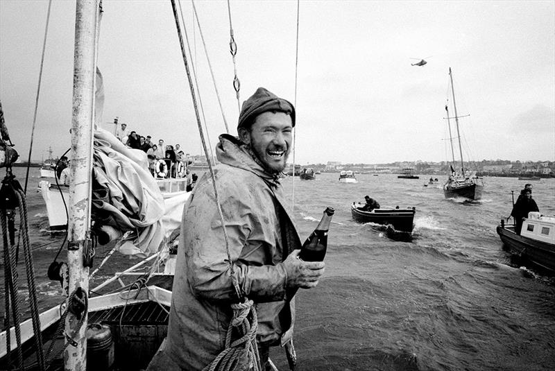 Sir Robin pictured in 1969 crossing the finish line in Golden Globe Race - photo © Bill Rowntree / PPL Media