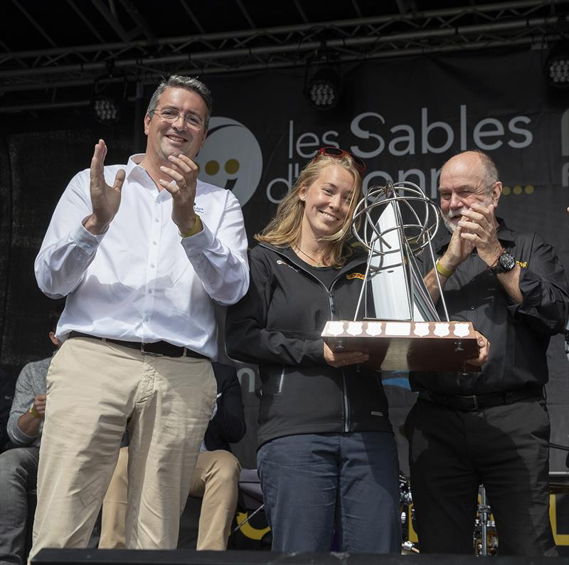 Susie Goodall receives the Kay Cottee Trophy from Yannick Moreau and Don McIntyre - Golden Globe Race, Day 295 - photo © Tim Bishop / PPL / GGR