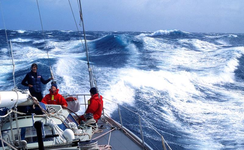 Sleigh ride in the Southern Ocean, aboard Conny van Rietschoten's 1981/2 winning yacht Flyer.  photo copyright Julian Fuller / PPL taken at  and featuring the Golden Globe Race class