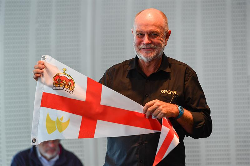 Race Chairman Don McIntyre presenting the Royal Nomuka YC flag - photo © Christophe Favreau / PPL / GGR