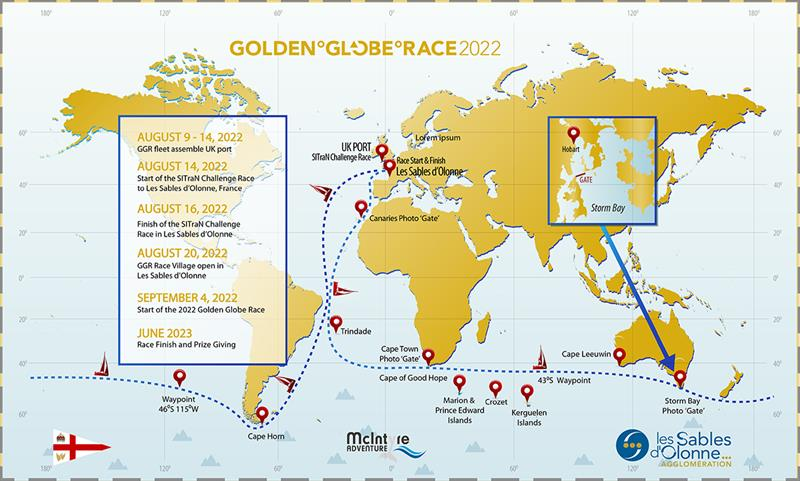 The course for the 2022 Golden Globe Race with the addition of the Island of Trindade as a turning mark, and Cape Town as a second photo gate. - photo © Don McIntyre
