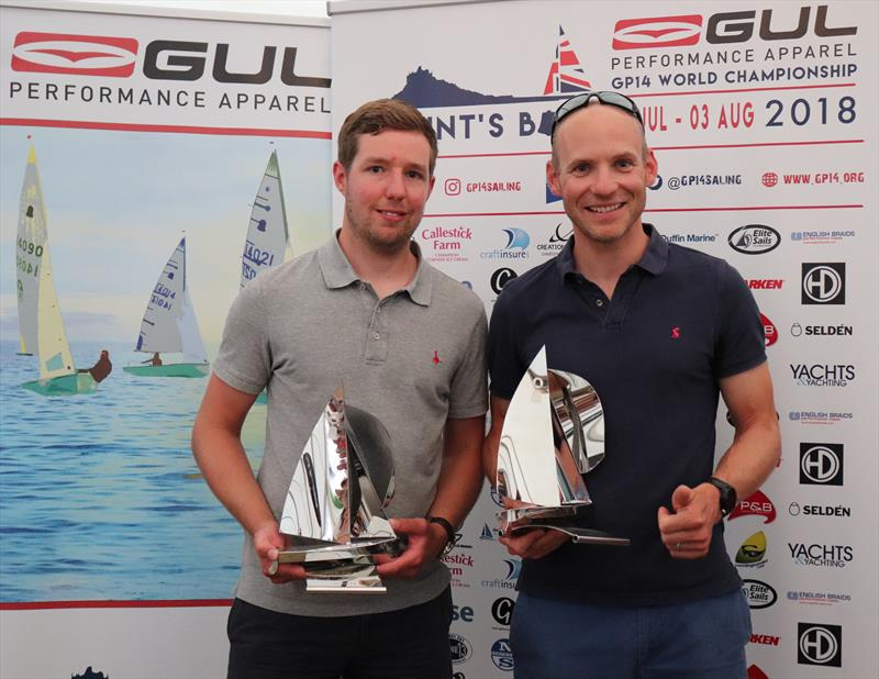 World Champions, Chris White and Mike Senior in the Gul GP14 Worlds at Mount's Bay - photo © Michelle Evans