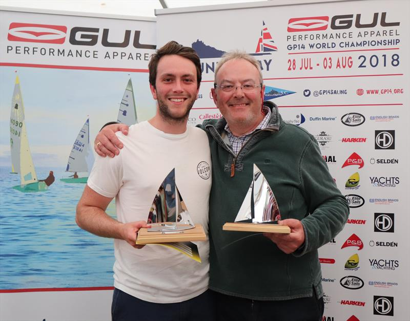 Winners of the Bronze Fleet, George and Neil Meredith in the Gul GP14 Worlds at Mount's Bay photo copyright Lee Whitehead / www.photolounge.co.uk taken at Mount's Bay Sailing Club and featuring the GP14 class