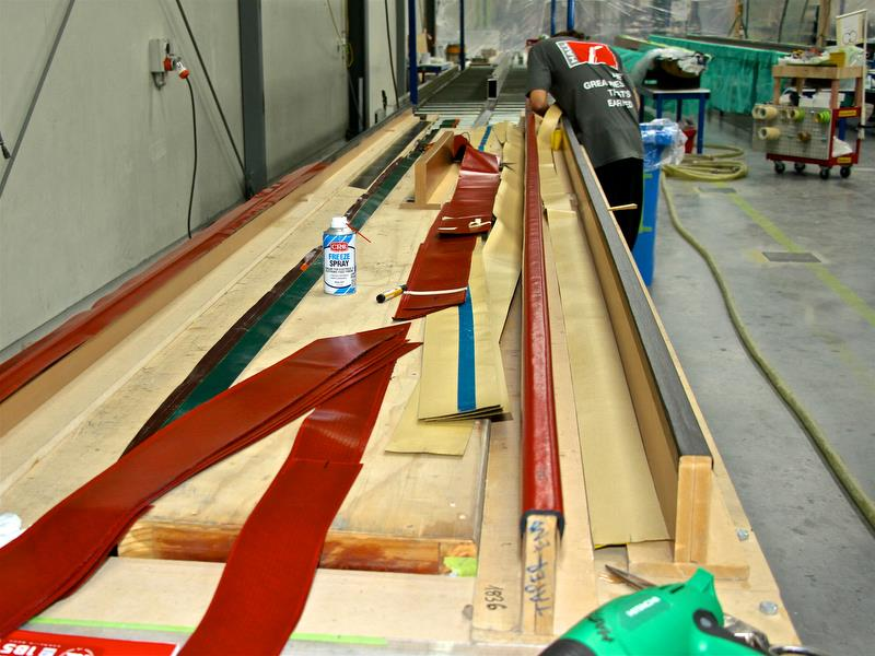 Hall Spars - Battens are laid up on wooden formers before being