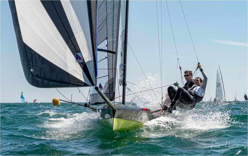 Archie Massey & Harvey Hillary during the I14 Hayling Hull held at the HISC Whitsun Regatta photo copyright Peter Jackson taken at Hayling Island Sailing Club and featuring the International 14 class