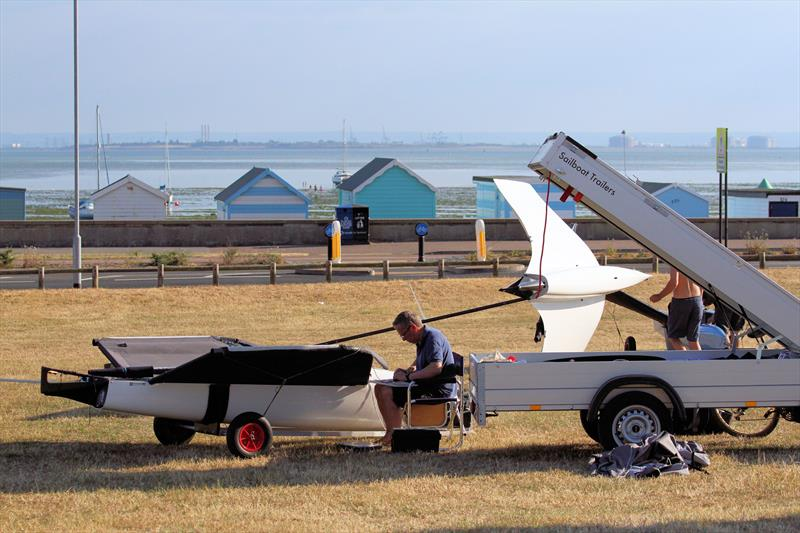 Final preparations ahead of the Noble Allen 2018 International Moth UK Championship at Thorpe Bay - photo © Mark Jardine / IMCA UK
