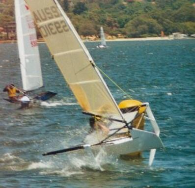 A race winner at the Worlds, Brett Burvill's foiling Moth showed not just amazing speed but the ability to sustain around a race course. But, was it a Moth - or a trimaran? - photo © IMCA