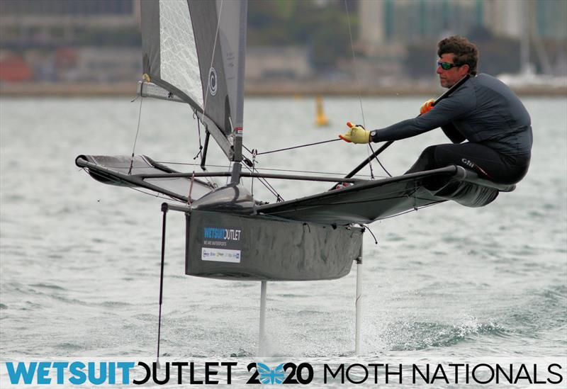 Brad Gibson on day 5 of the Wetsuit Outlet UK Moth Nationals photo copyright Mark Jardine / IMCA UK taken at Weymouth & Portland Sailing Academy and featuring the International Moth class