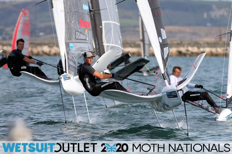 Dylan Fletcher hunts down Billy Vennis-Ozane on day 5 of the Wetsuit Outlet UK Moth Nationals photo copyright Mark Jardine / IMCA UK taken at Weymouth & Portland Sailing Academy and featuring the International Moth class