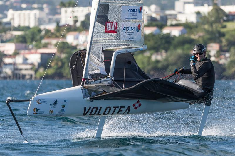 Early lead in the Moths for Benoit Marie, despite a broken wing bar - Martinique Flying Regatta 2018 photo copyright Jean-Marie Liot / Martinique Flying Regatta taken at  and featuring the International Moth class