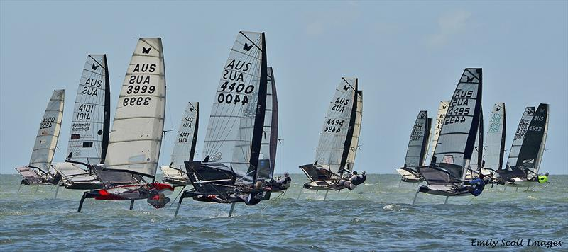 Fleet action at the 2019 International Moth AUS Championship photo copyright Emily Scott Images taken at Royal Queensland Yacht Squadron and featuring the International Moth class