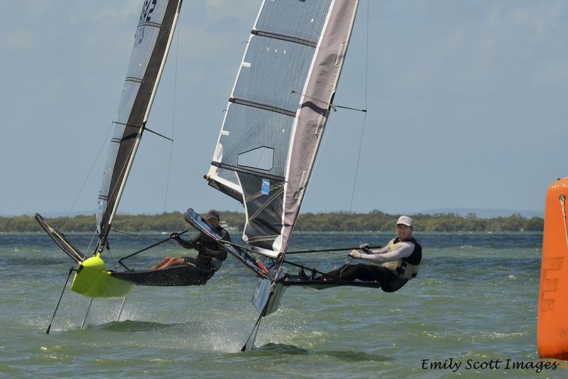 Keegan York and Les Thorpe rounding the bottom gate  photo copyright Emily Scott Images taken at Royal Queensland Yacht Squadron and featuring the International Moth class