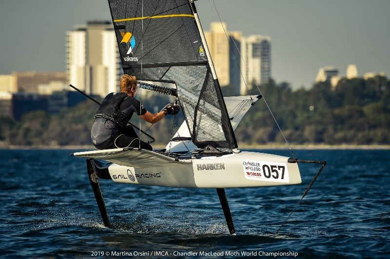 Even after a breakage, Kyle Langford managed to win the final race on Blue course - 2019 Chandler Macleod Moth Worlds day 2 - photo © Martina Orsini