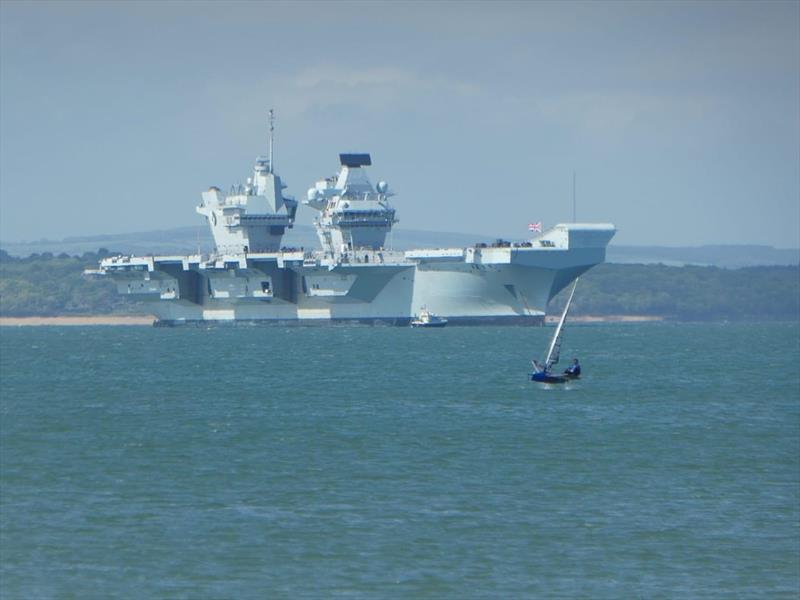 Moth and HMS Queen Elizabeth II off Stokes Bay - photo © John Donnelly