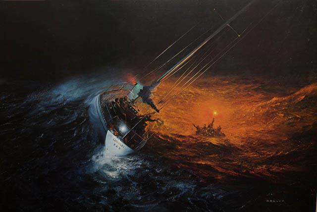 A painting depicting the daring rescue of the Royal Ocean Racing Club crew after the Club yacht 'Griffin IV' sank during the infamous 1979 Fastnet Race. - photo © Lawrence Bagley - PPL - Copyright reserved