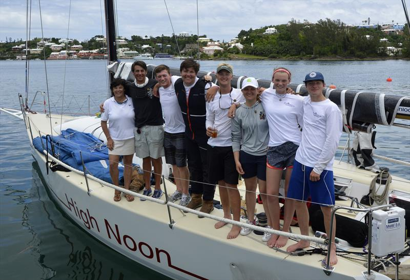 Commodore of the Royal Bermuda YC with young crew of High Noon who took elapsed time honours within the traditional fleet of the Newport Bermuda Race - photo © Barry Pickthall / PPL
