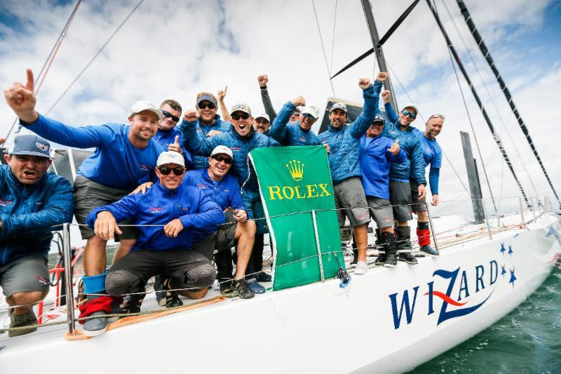 Celebrations on Wizard after completing the Rolex Fastnet Race in Plymouth - photo © RORC / Paul Wyeth / www.pwpictures.com