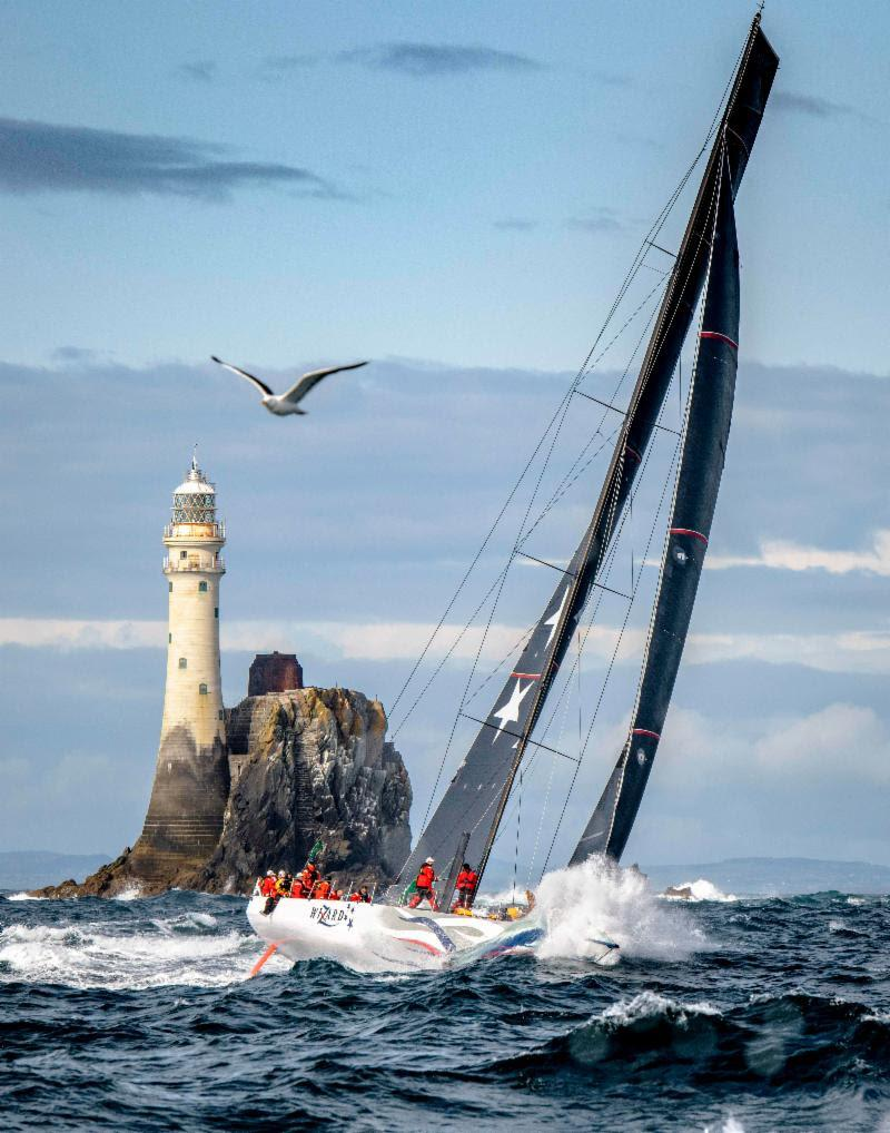 Wizard after rounding the symbol of the Rolex Fastnet Race photo copyright Kurt Arrigo / Rolex taken at Royal Ocean Racing Club and featuring the IRC class