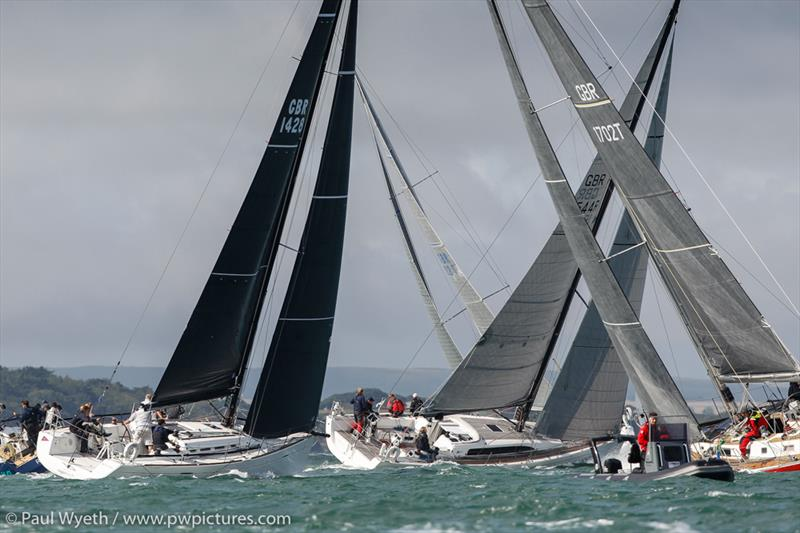 Simples, Rogan Josh & Scarlet Oyster tacking past Newtown during RORC Race the Wight photo copyright Paul Wyeth / www.pwpictures.com taken at Royal Ocean Racing Club and featuring the IRC class