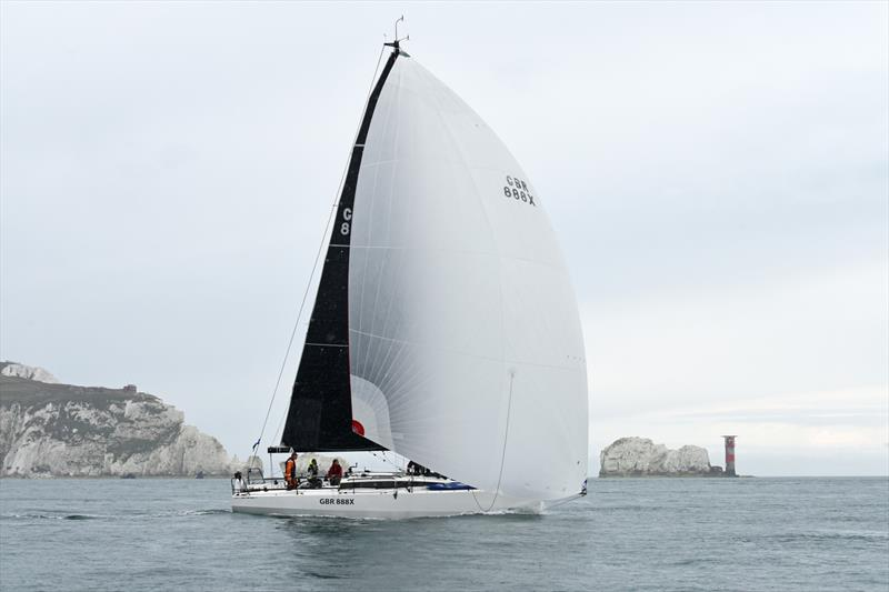 GBR888X passes The Needles in the Lonely Rock Race - photo © Rick Tomlinson / www.rick-tomlinson.com