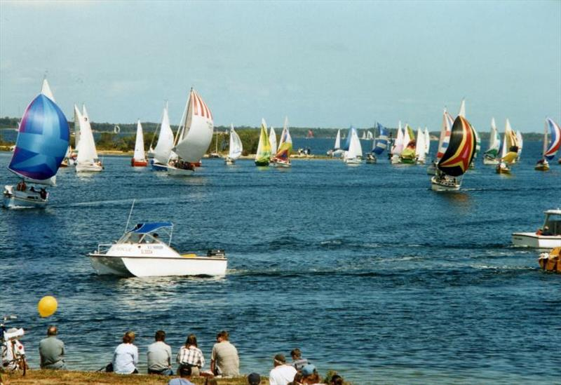 Yachts approaching the finish line in Paynesville under spinnaker - photo © Lake Wellington Yacht Club