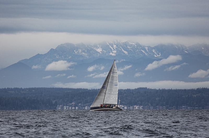 The majestic Olympic Mountains provide a dramatic backdrop to the CYC Seattle's 2017 Puget Sound Spring Regatta photo copyright Jan Anderson taken at Corinthian Yacht Club of Seattle and featuring the IRC class