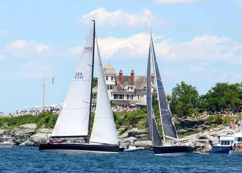In a southerly breeze, the fleet tacks to stay off the rocks near Castle Hill, Newport - Newport Bermuda Race - photo © Talbot Wilson