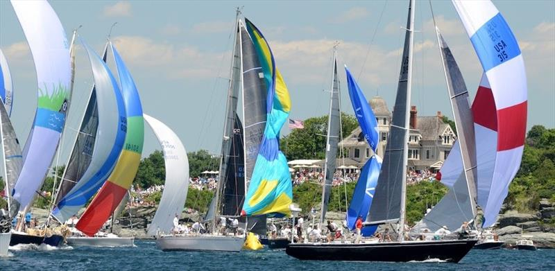 Spinnakers fly in a brisk northwesterly breeze with past winner Carina taking the lead position - Newport Bermuda Race - photo © Talbot Wilson / PPL