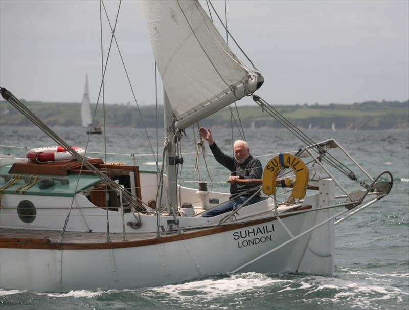 Sir Robin Knox-Johnston at the helm of his famous yacht Suhaili after the start of the GGR SITRaN Challenge Race to Les Sables d'Olonne France - photo © Bill Rowntree / PPL / GGR