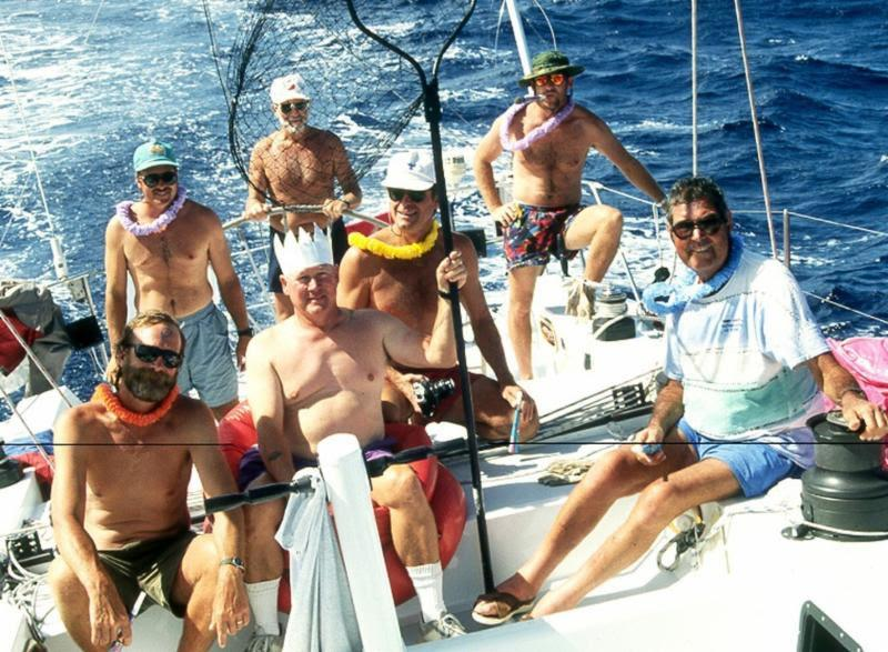 Fred Kirschner (far right) and crew enjoying their equator crossing on Kathmandu in TPYC's 1994 LA-Tahiti Race - photo © Tom Fisher