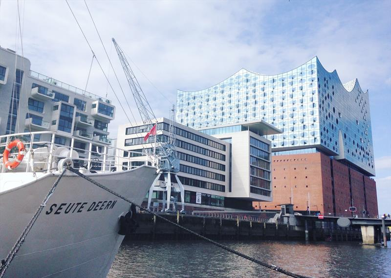 AAR Race Club Ship Seute Deern in front of the iconic Elbphilharmonie in Hamburg - AAR Bermuda Hamburg Race photo copyright Anna Budel / AAR taken at Yacht Club Costa Smeralda and featuring the IRC class