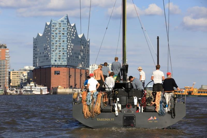 Varuna VI approaching the AAR Race Village in Hamburg's HafenCity, in front of the iconic Elbphilharmonie - Bermuda Hamburg Race of the Atlantic Anniversary Regatta 2018 - photo © Michael Meyer / AAR