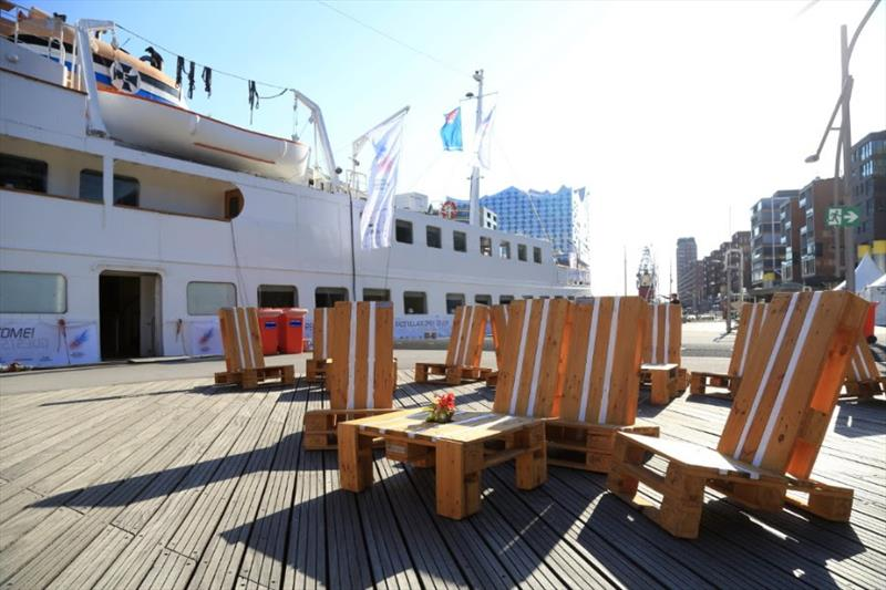 AAR Race Village Lounge in front of Race Club Ship Seute Deern and the iconic Elbphilharmonie in Hamburg - Bermuda Hamburg Race of the Atlantic Anniversary Regatta 2018 - photo © Michael Meyer / AAR