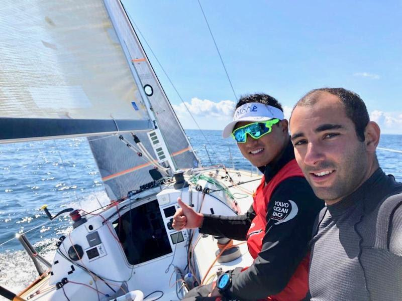 A selfie from the race course: The Chinese/French duo are competing in IRC Two Handed in the smallest boat in the fleet. Benjamin Schwartz and Chen Jin Hao on Figaro El Velosolex SL Energies Group - photo © El Velosolex