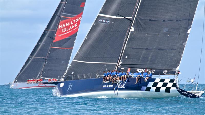 Black Jack chases on Wild Oats XI's hip - Hamilton Island Race Week - Day 6 - photo © Richard Gladwell