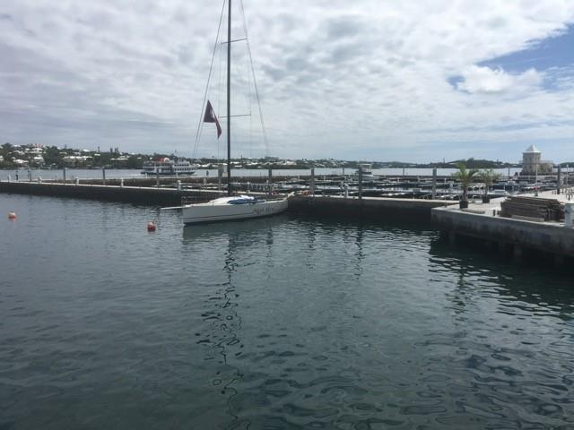 High Noon, sitting all alone at the docks of the Royal Bermuda Yacht Club for several hours before the next finisher arrived following her impressive 2016 race - photo © Image courtesy of Robert S. Darbee